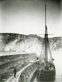 Ship in harbour at St Agnes