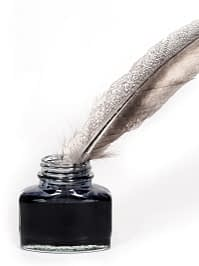 Quill and ink pot