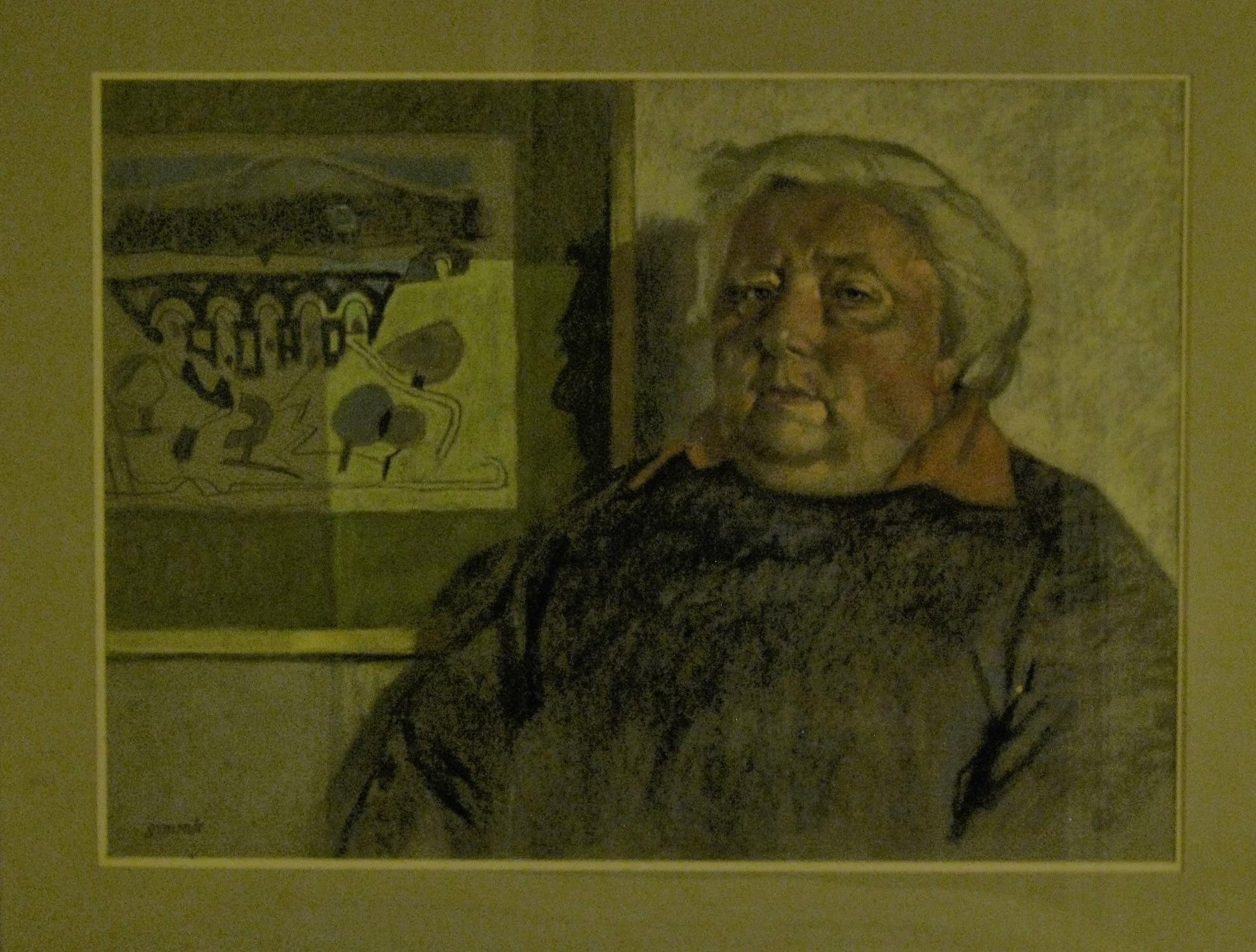 Pastel portrait of St Agnes artist Tony Giles, by Ken Symonds