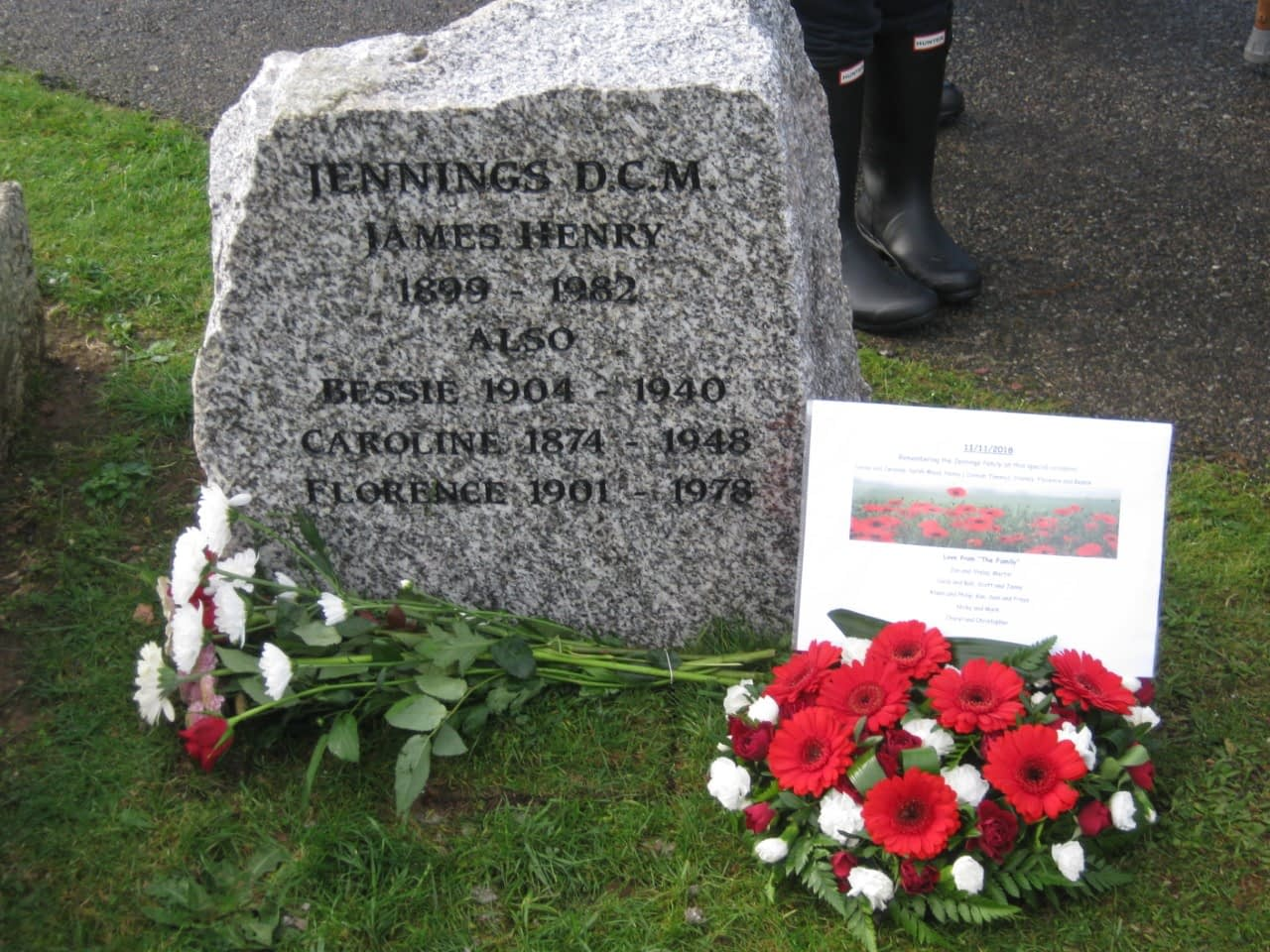 Granite headstone on the unmarked grave of Henry Jennings DCM